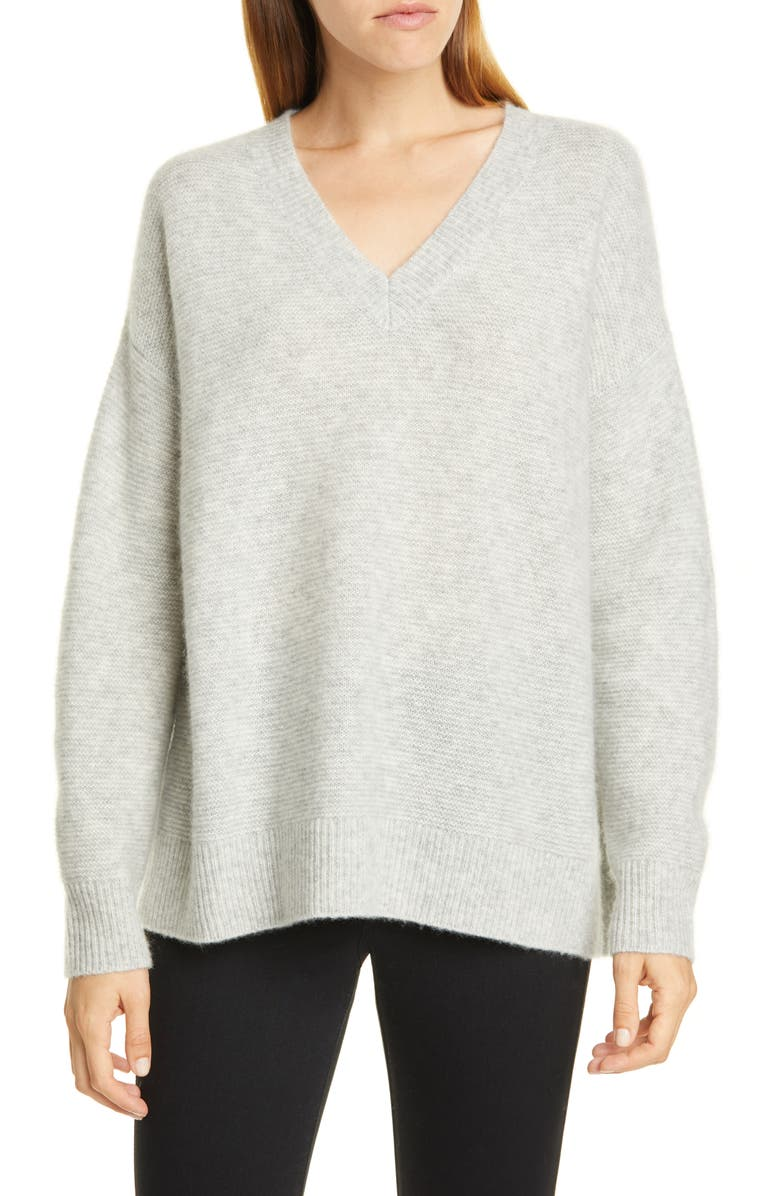 NORDSTROM SIGNATURE V-Neck Cashmere & Silk Sweater, Main, color, GREY CLAY HEATHER