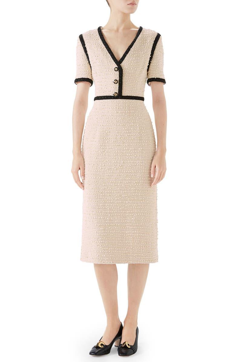 GUCCI Bouclé Tweed Dress, Main, color, MOONSTONE IVORY