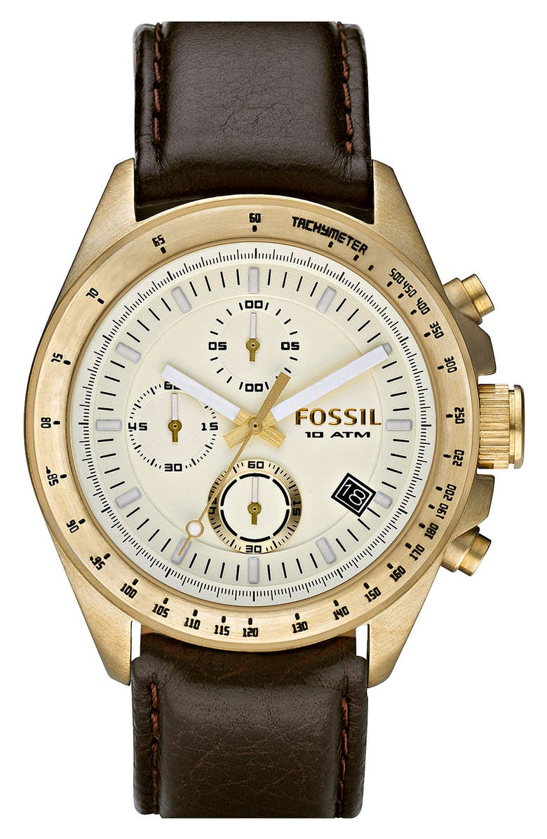 FOSSIL 'Vintage Marine' Leather Strap Chronograph Watch, Main, color, 001