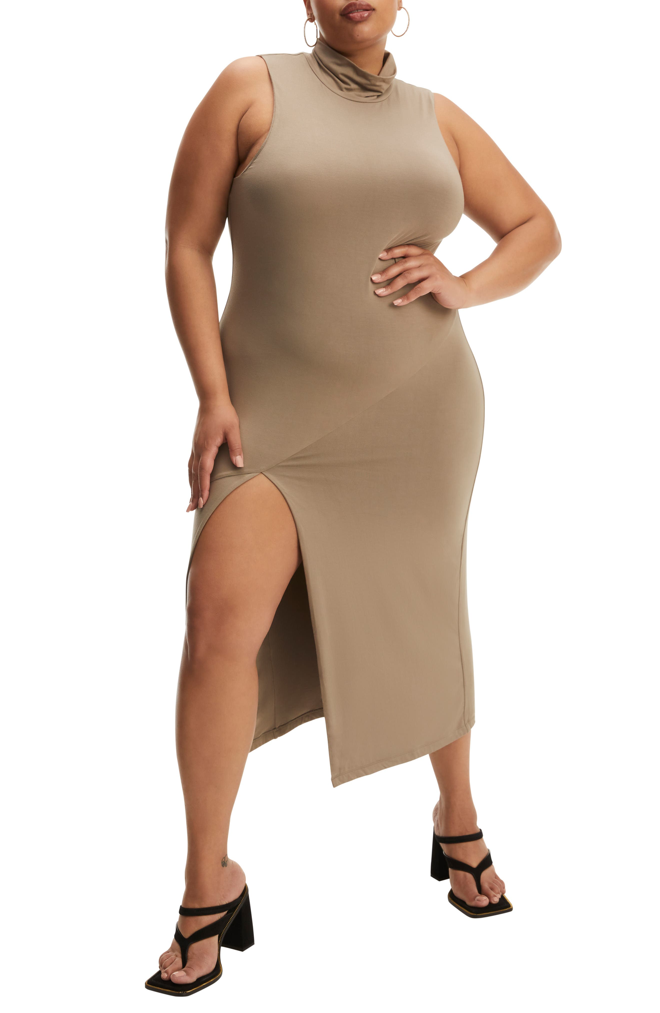 Turtleneck Sleeveless Midi Dress