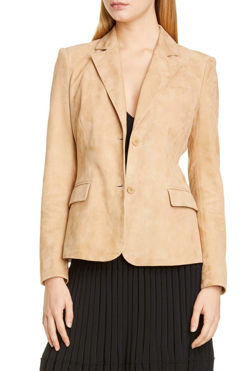 ALTUZARRA Two-Button Suede Jacket, Main, color, 000253 CAPPUCCINO