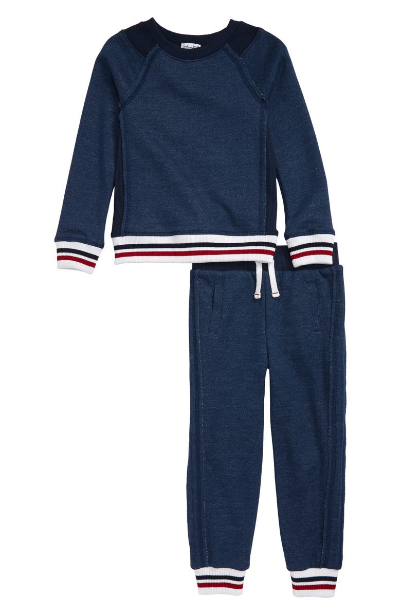 SPLENDID Stripe Sweatshirt & Sweatpants Set, Main, color, 410
