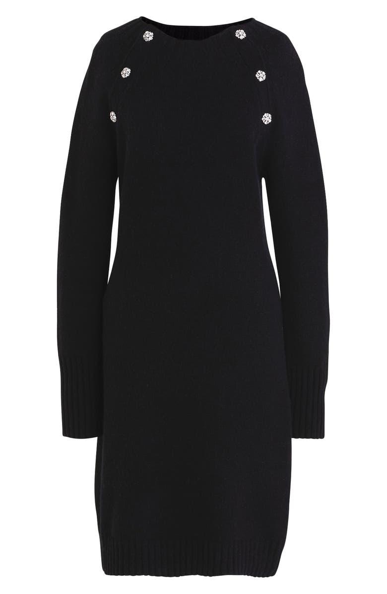 J.CREW Lance Jewel Button Sweater Dress, Main, color, 001