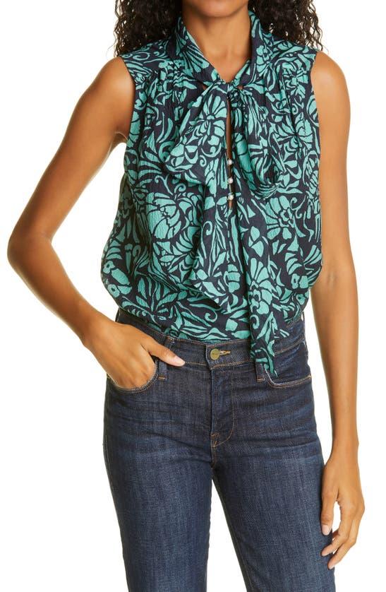 Tanya Taylor Adalira Tie Neck Sleeveless Silk Georgette Top In Cutwork Floral Navy