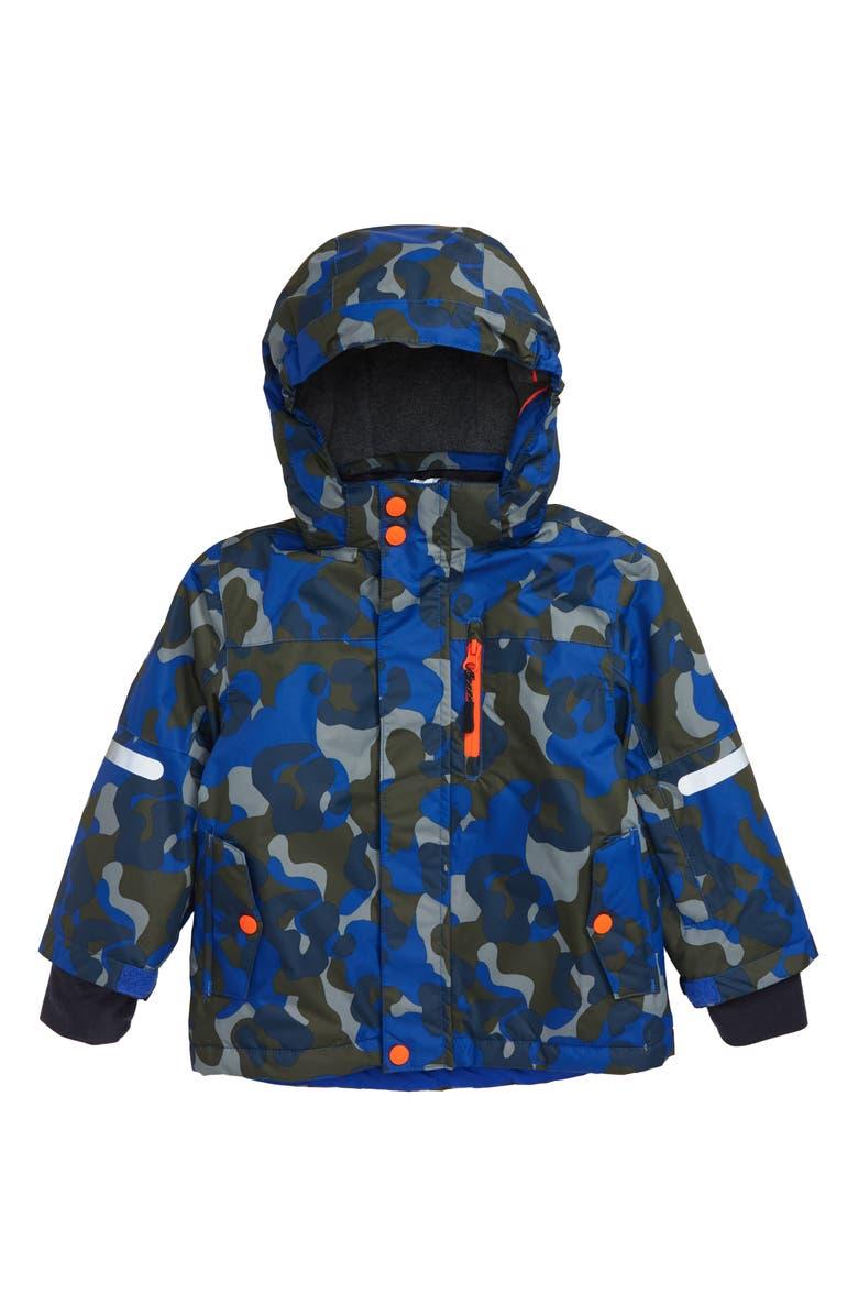 MINI BODEN Polar Bear Waterproof Hooded Jacket, Main, color, HERON BLUE/ CAMOFLAGE