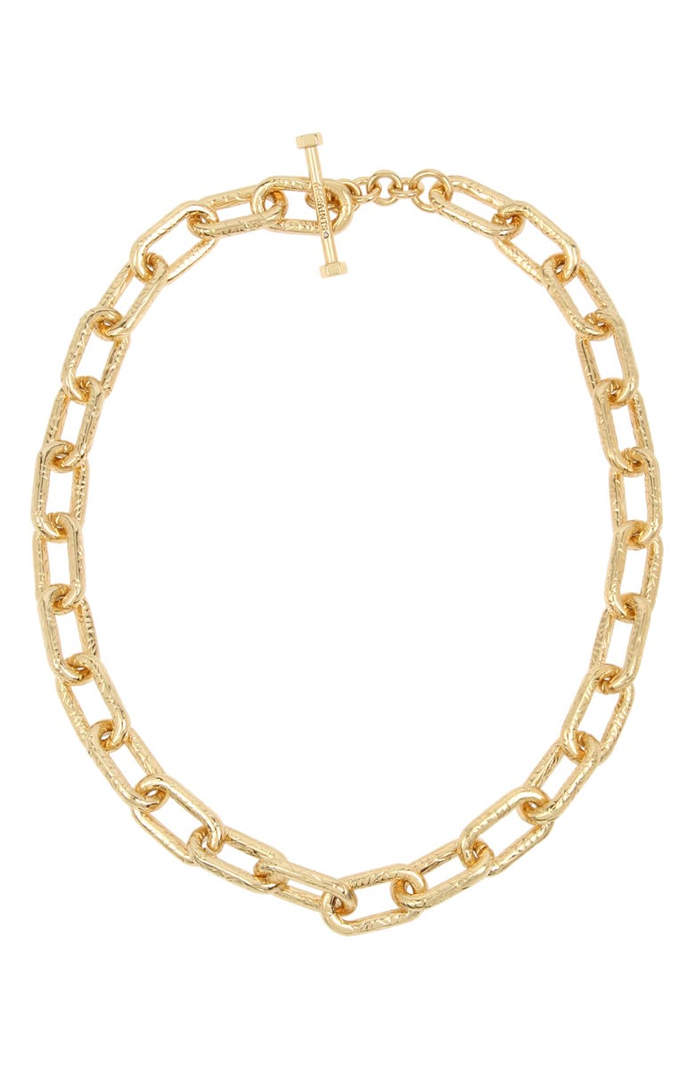 ALLSAINTS Textured Link Collar Necklace, Main, color, GOLD