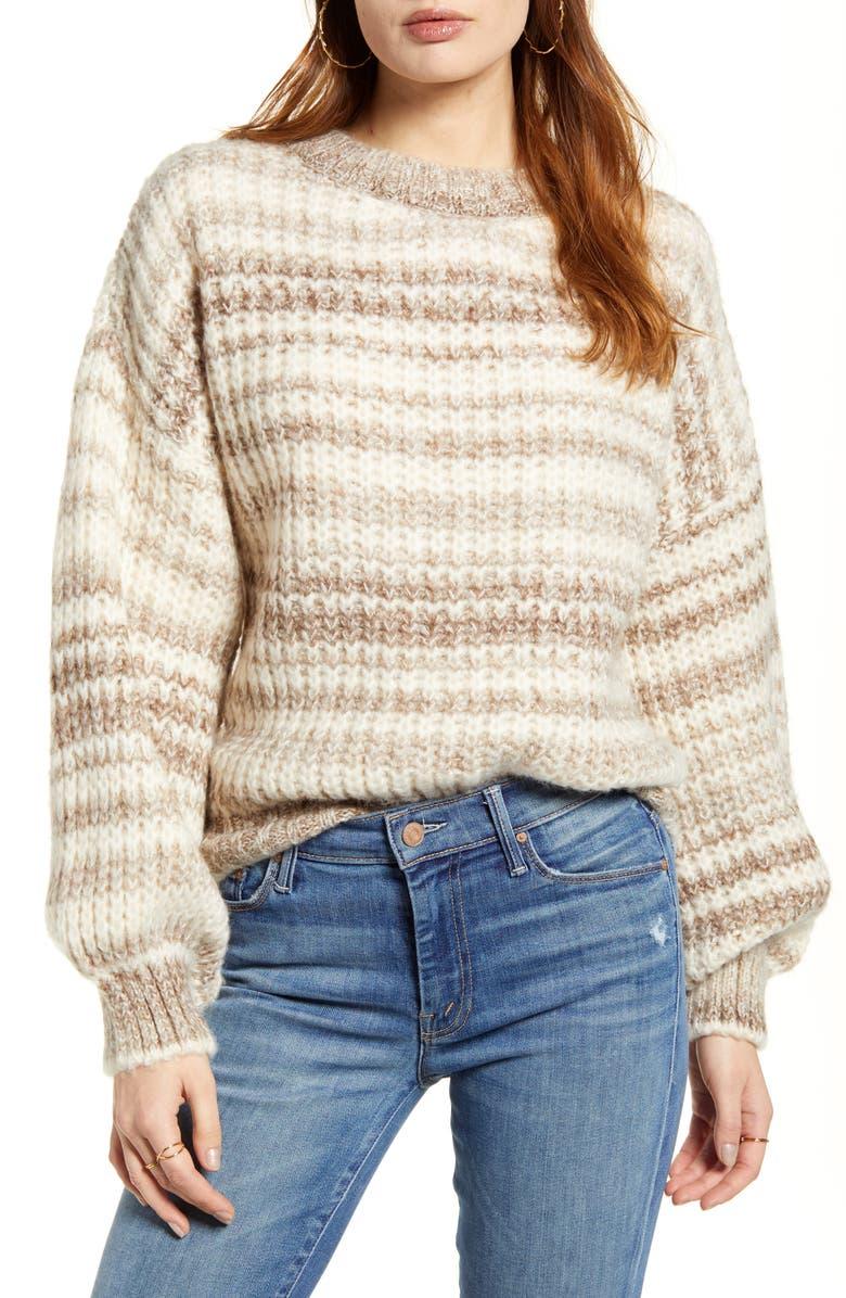 VERO MODA Leya Stripe Crewneck Sweater, Main, color, BIRCH