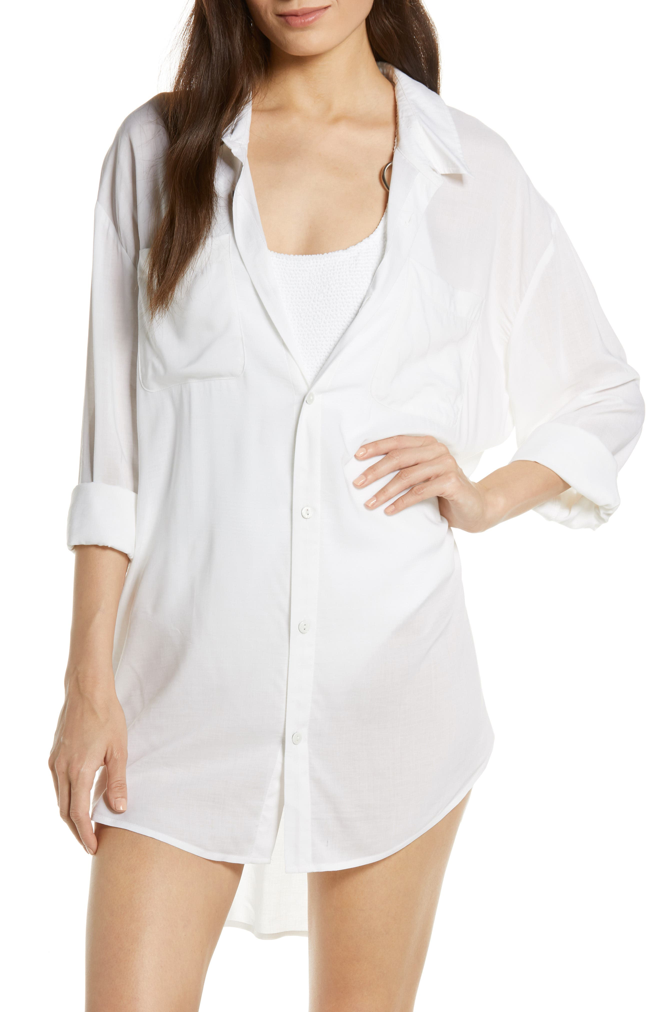 Boyfriend Cover-Up Shirt, Main, color, WHITE