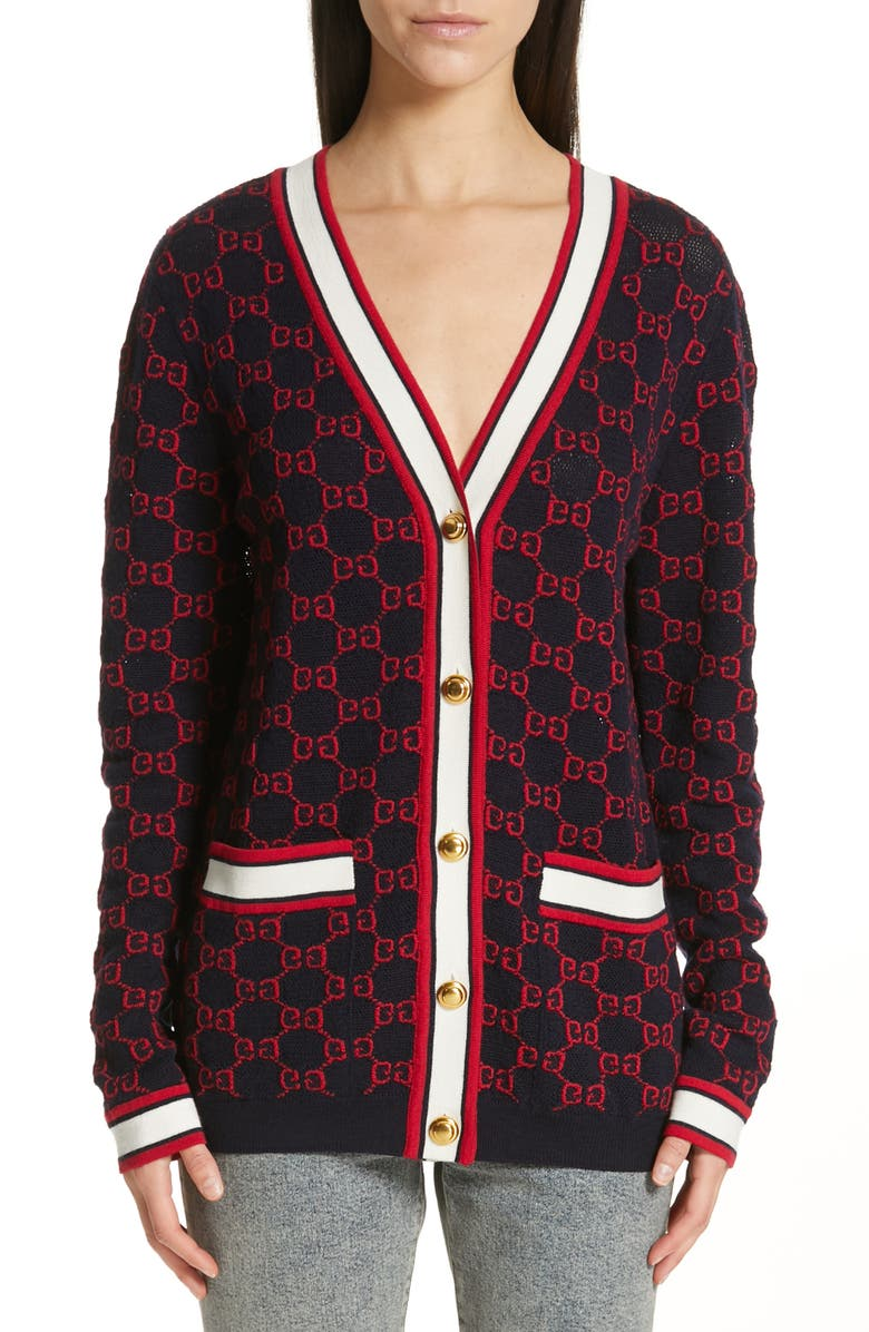 GUCCI GG Wool Cardigan, Main, color, BLUE/ MULTICOLOR