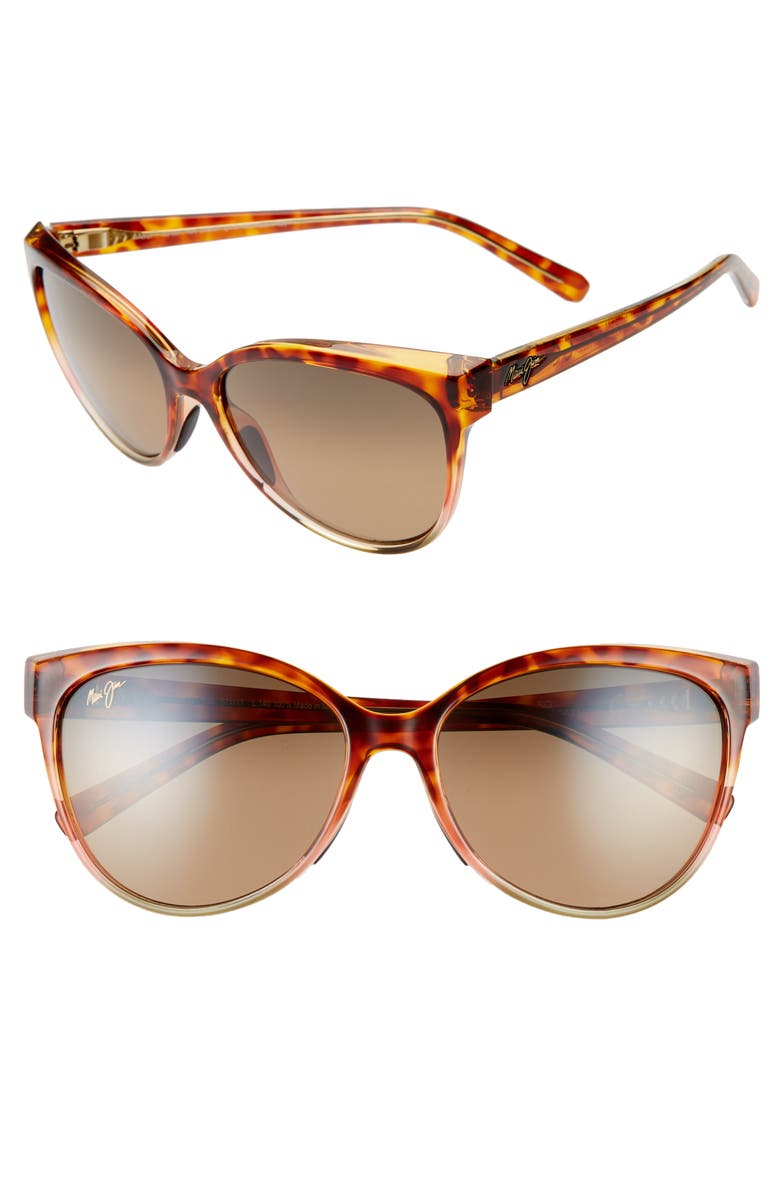 MAUI JIM 'Olu 'Olu 57mm PolarizedPlus2<sup>®</sup> Cat Eye Sunglasses, Main, color, TORTOISE WITH TAN/ HCL BRONZE