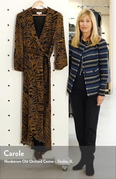 Tiger Print Georgette Midi Wrap Dress, sales video thumbnail