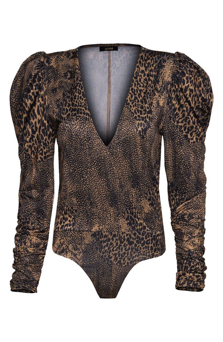 AFRM Zuri Long Sleeve Bodysuit, Main, color, TAN ANIMAL