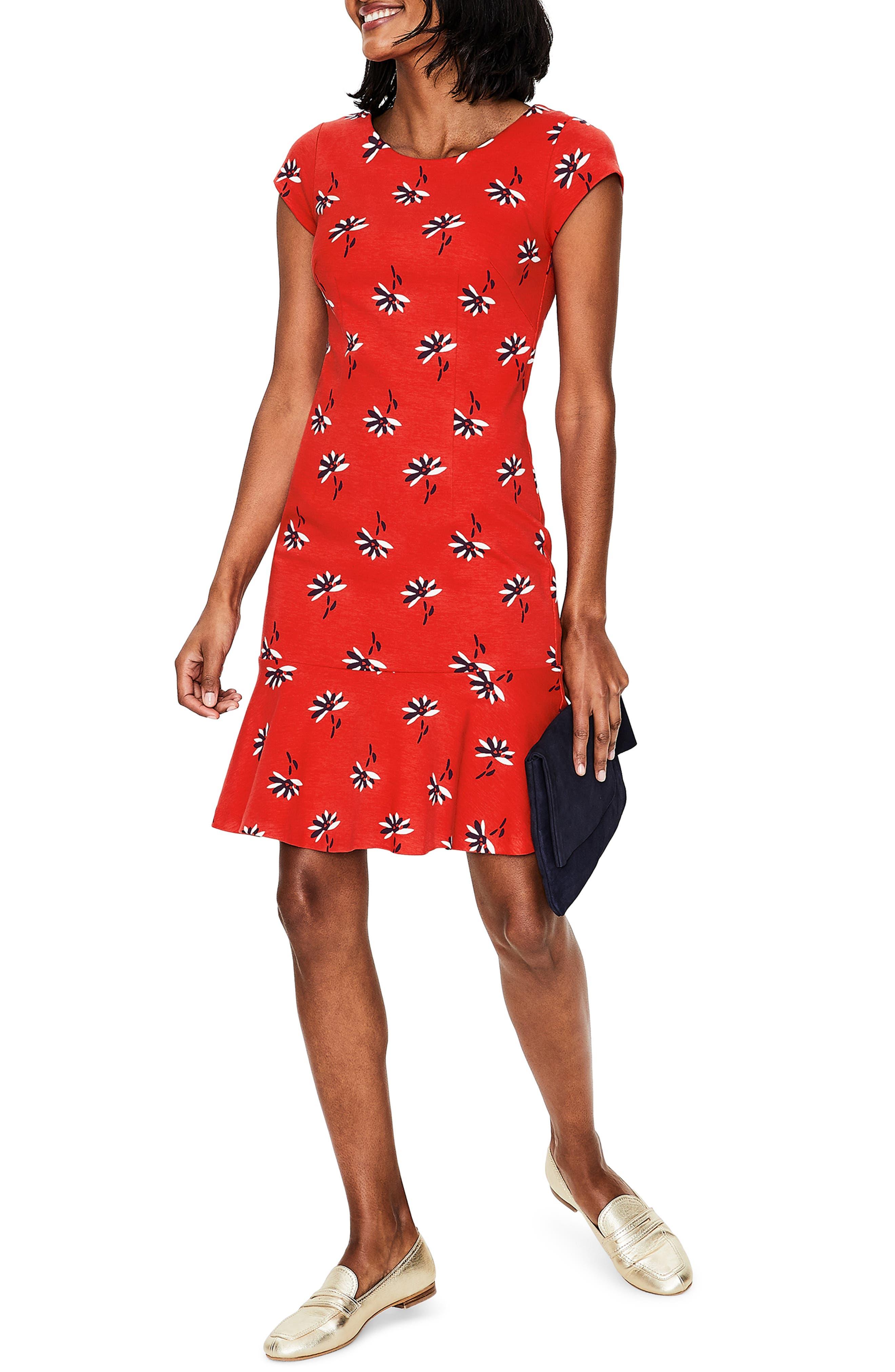 Rosetta Ponte Dress, Main, color, RED POP DANDELION