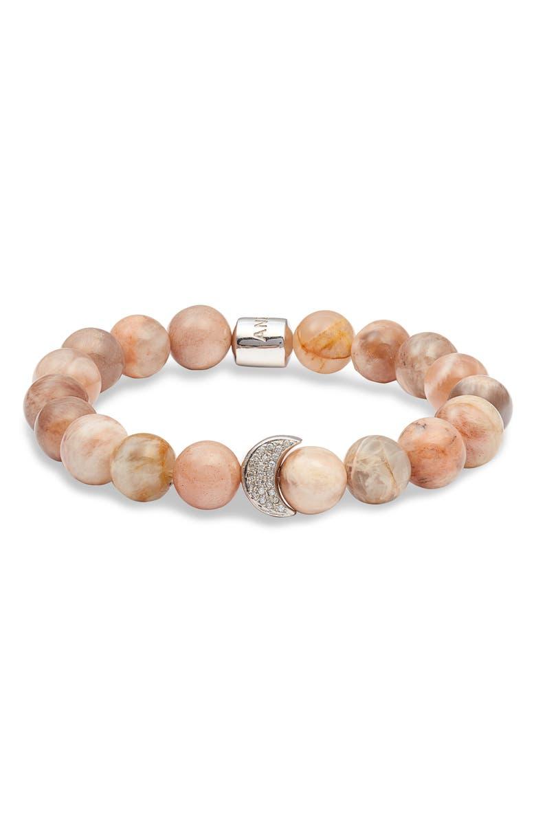 ANZIE Bohéme Moon Beaded Bracelet, Main, color, SILVER