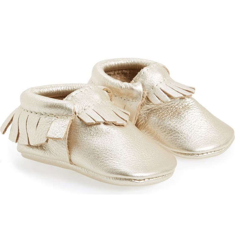 FRESHLY PICKED Metallic Leather Moccasin, Main, color, PLATINUM