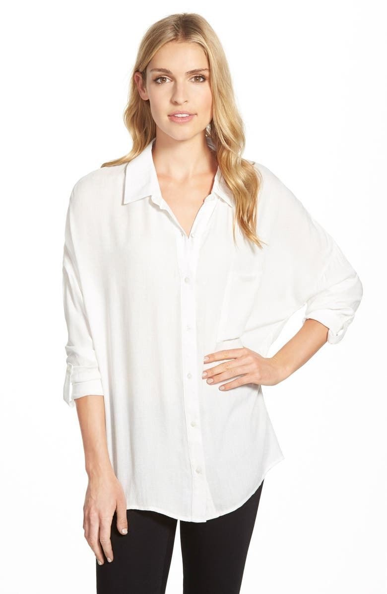 BOBEAU Oversized Roll Sleeve One Pocket Shirt, Main, color, 101
