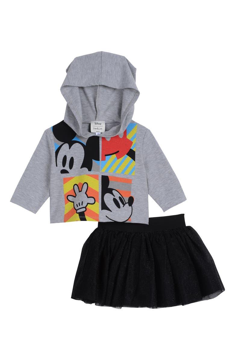 PIPPA & JULIE x Disney<sup>®</sup> Mickey Mouse<sup>®</sup> Hoodie & Skirt Set, Main, color, GREY/ BLACK