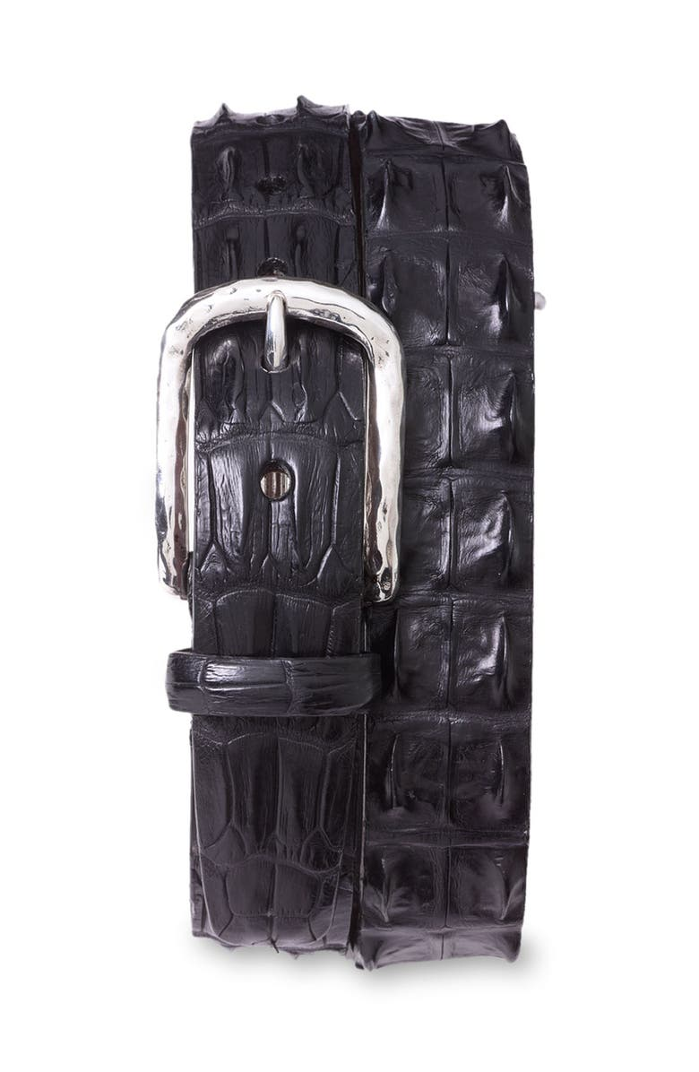 TORINO Hornback Crocodile Leather Belt, Main, color, BLACK HORNBACK ALLIGATOR