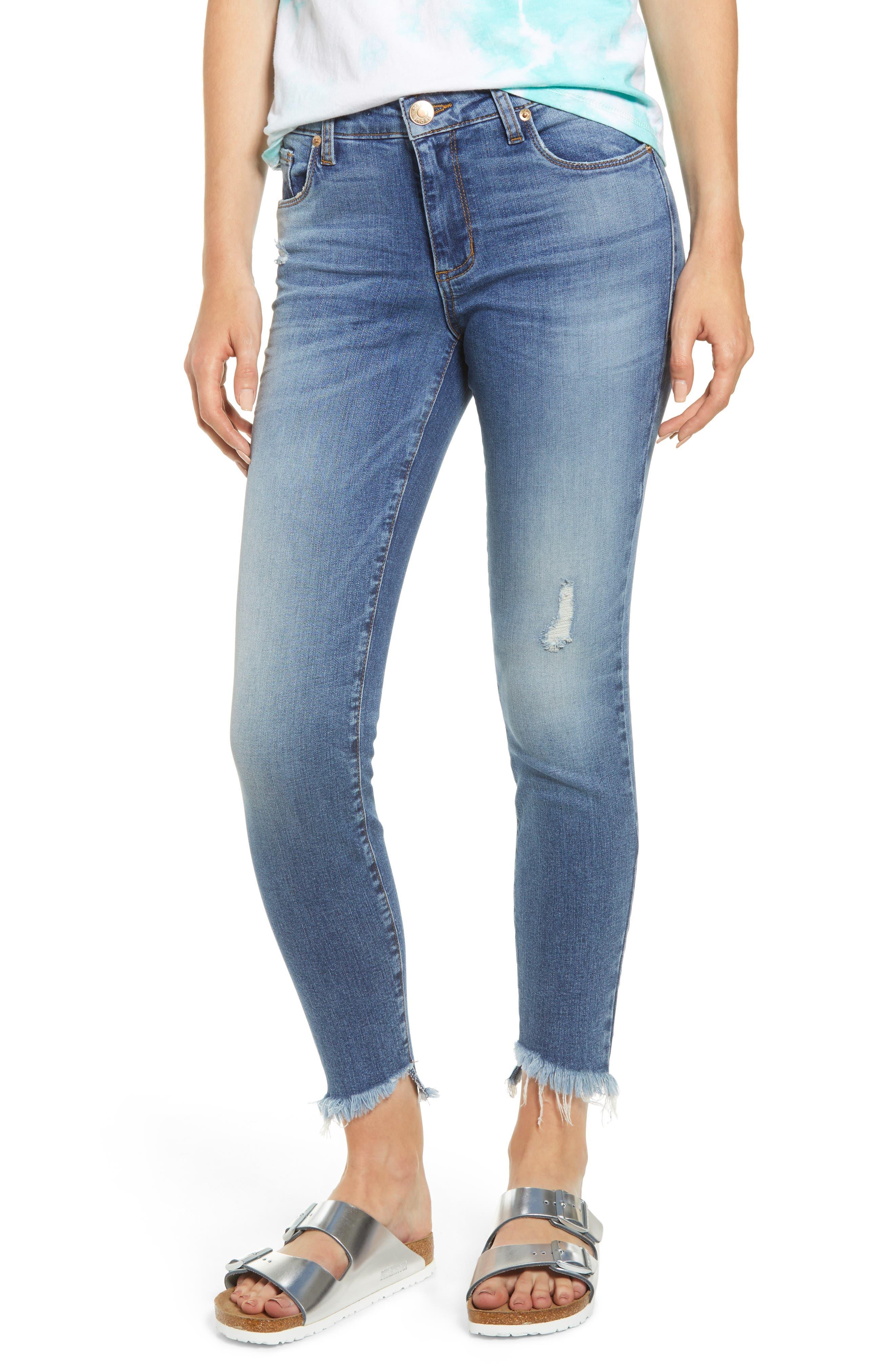 Image of STS BLUE Emma Asymmetrical Hem Skinny Jeans