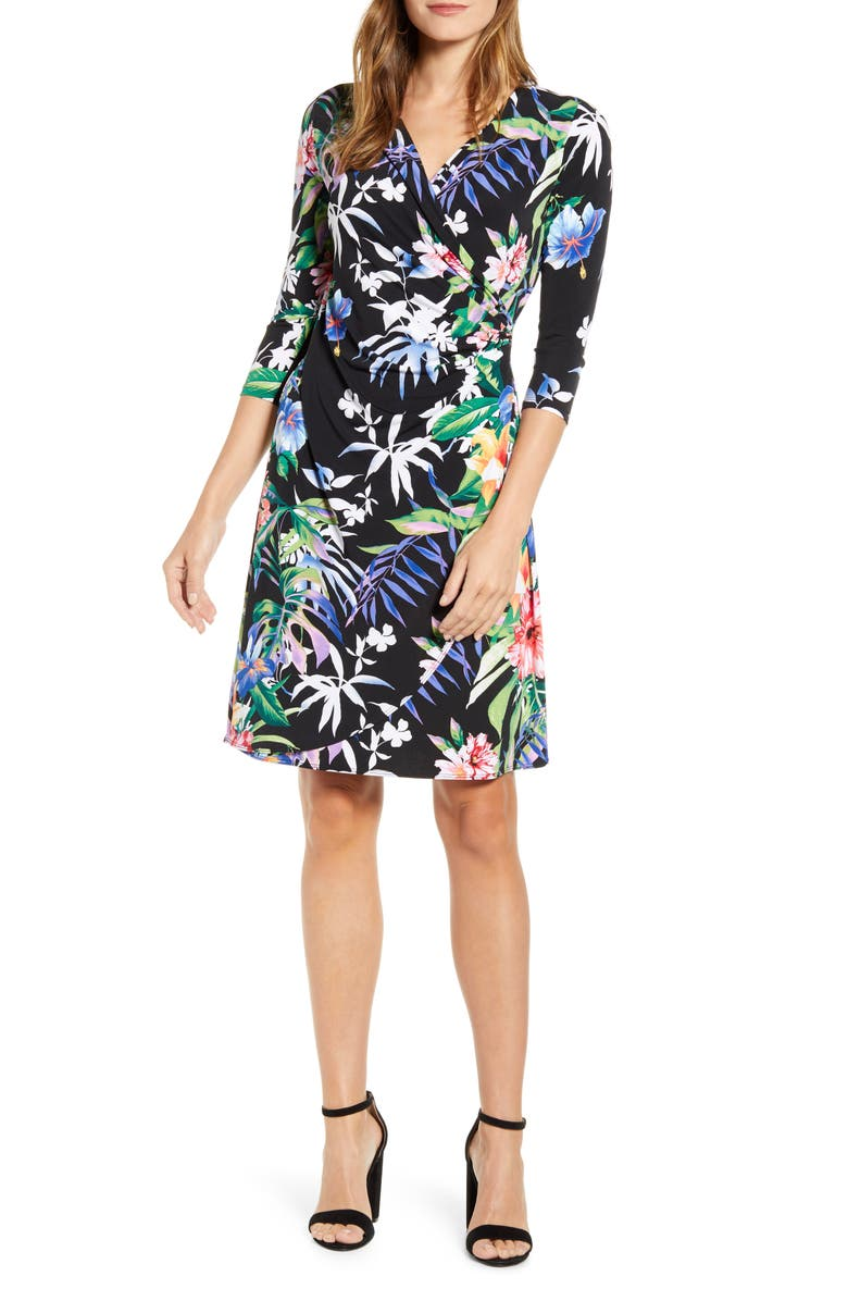 TOMMY BAHAMA Hermosa Flora Faux Wrap Dress, Main, color, BLACK