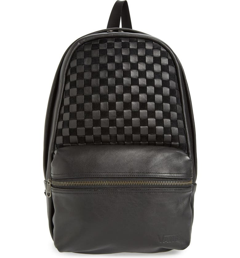 VANS 'Calico Plus' Leather Backpack, Main, color, 001