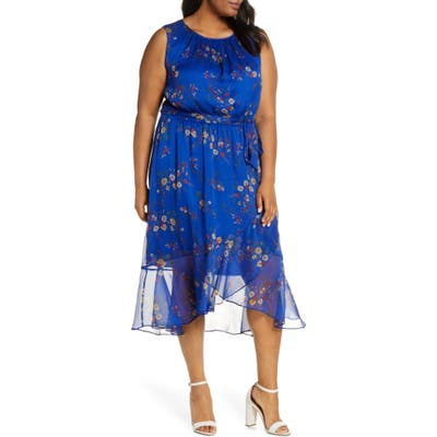 Plus Size Vince Camuto Country Bouquet Ruffle Hem Sleeveless Dress, Blue