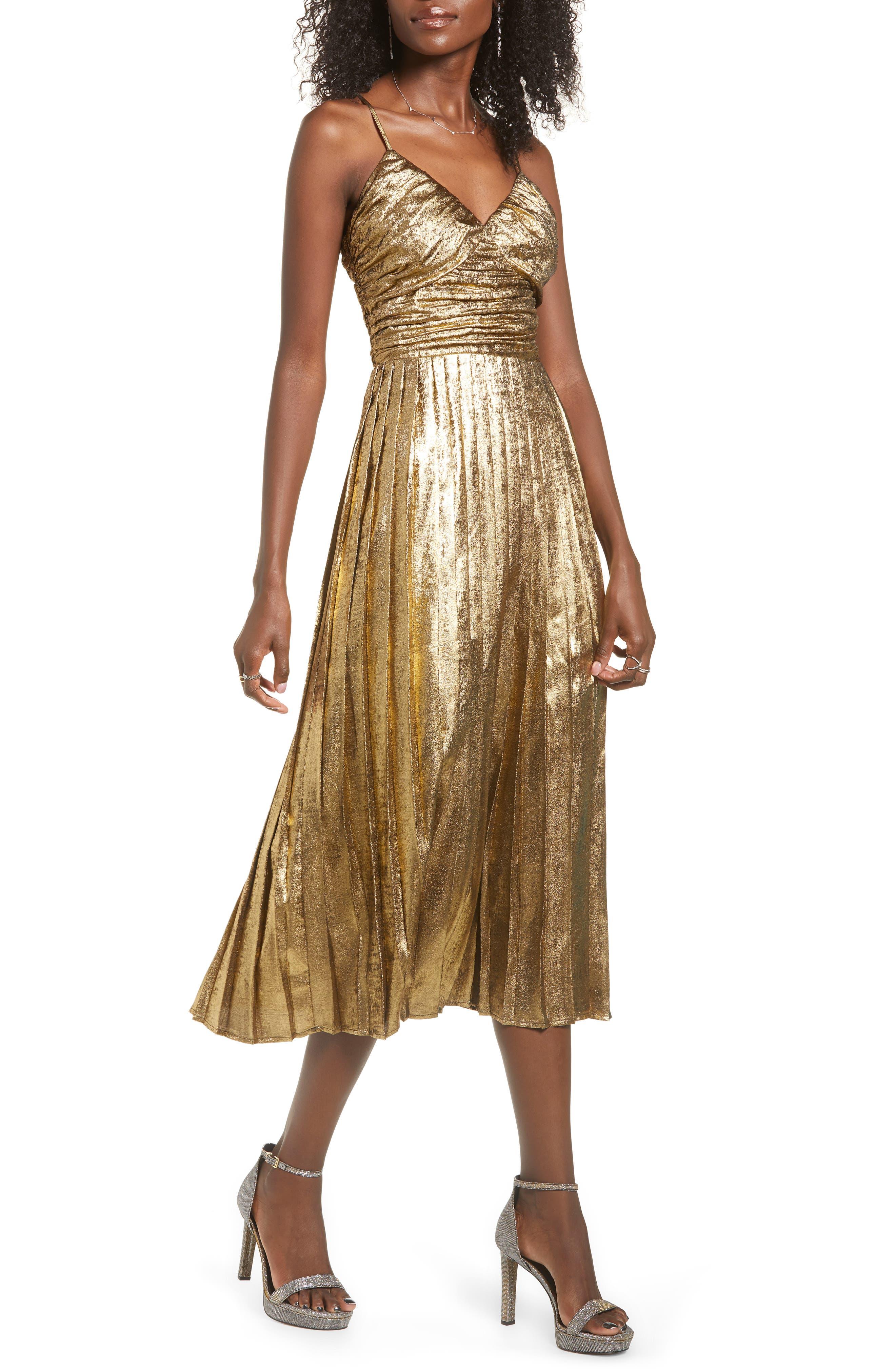 70s Prom, Formal, Evening, Party Dresses Womens J.o.a. Metallic Pleated Midi Dress $125.00 AT vintagedancer.com