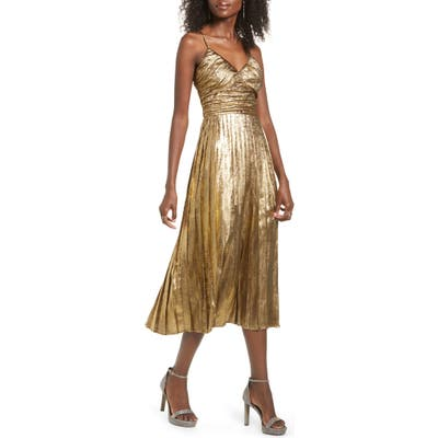 J.o.a. Metallic Pleated Midi Dress, Metallic