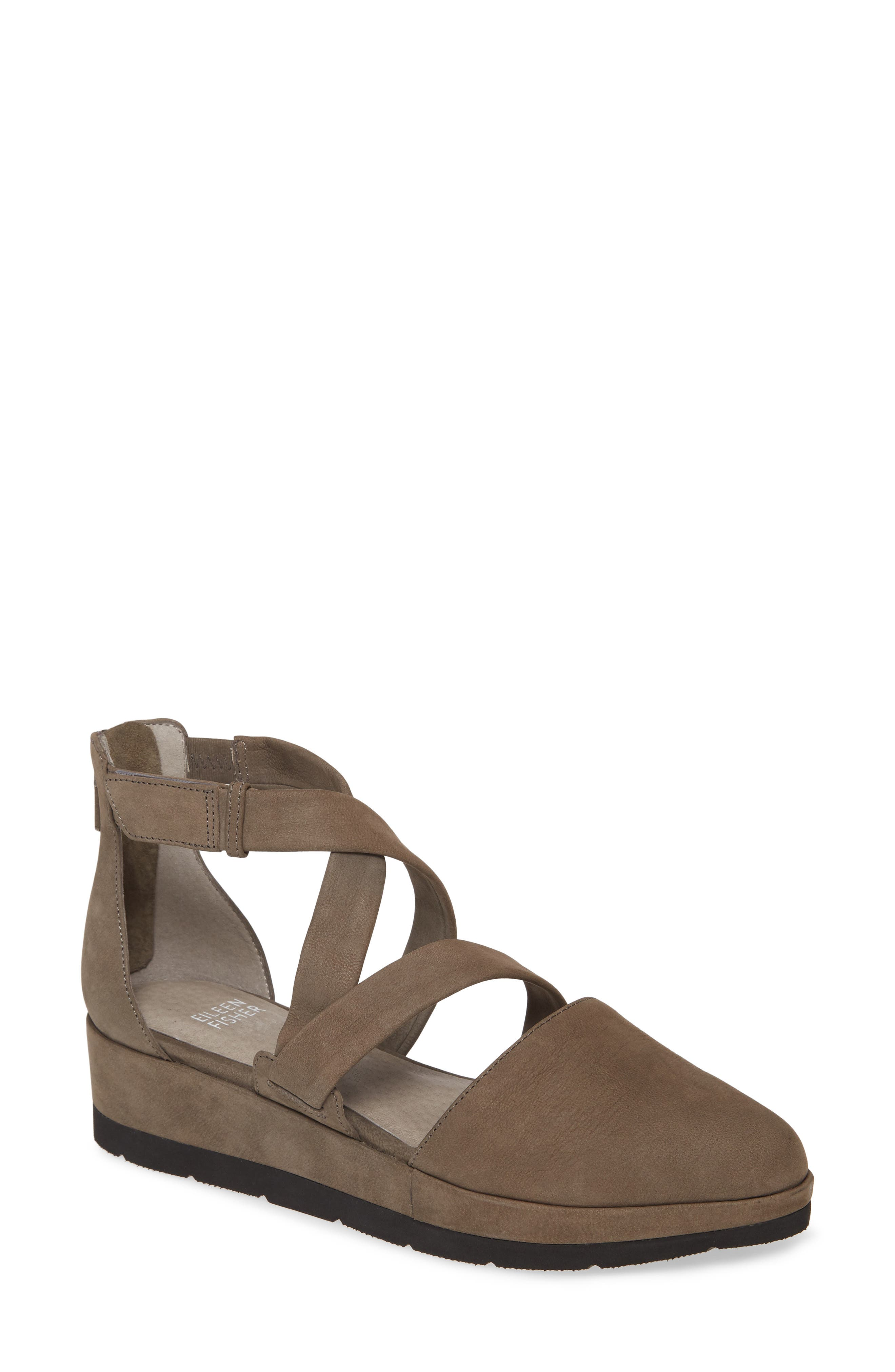Eileen Fisher Bovery Strappy Platform Wedge (Women)