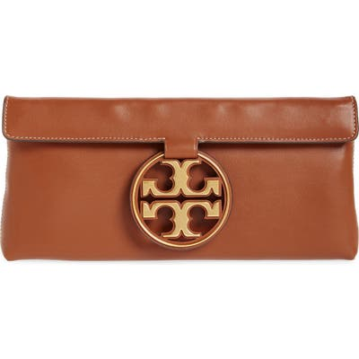 Tory Burch Miller Leather Clutch - Brown