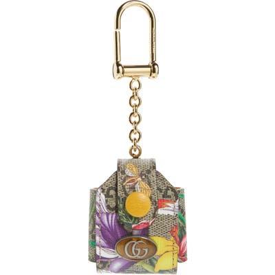 Gucci Ophidia Floral Print Gg Supreme Airpod Case Bag Charm - Beige