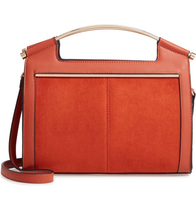 TOPSHOP Tilly Faux Leather Satchel, Main, color, BROWN MULTI