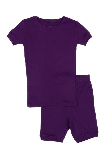 Image of Leveret Dark Purple Two-Piece Cotton Shorts Pajamas
