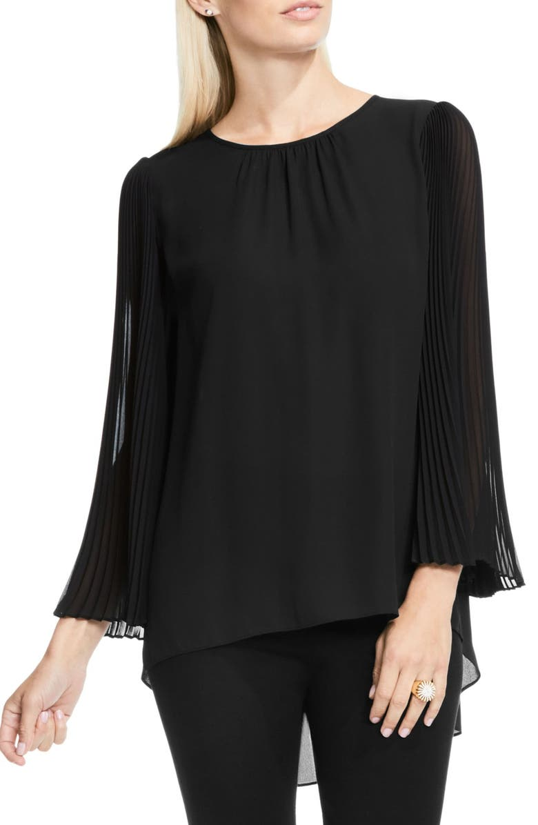 VINCE CAMUTO Pleated Chiffon Sleeve Blouse, Main, color, 006
