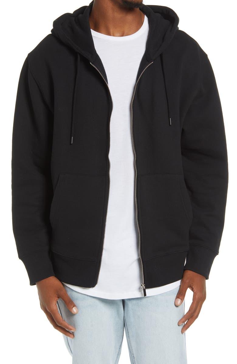 TOPMAN Front Zip Hoodie, Main, color, BLACK