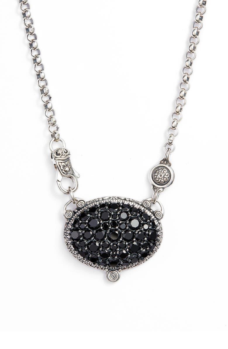 KONSTANTINO Circe Black Spinel Pavé Necklace, Main, color, SILVER