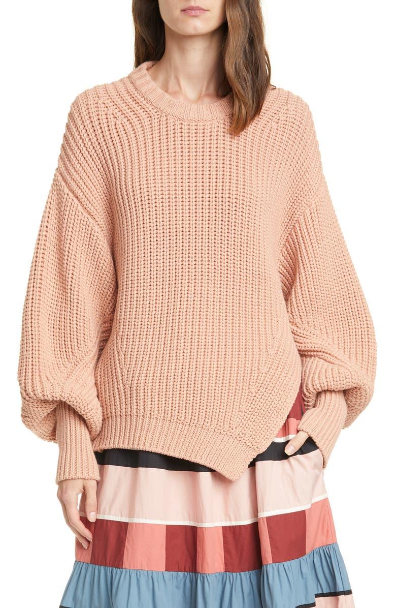 ULLA JOHNSON Cosima Split Hem Sweater, Main, color, ROSE