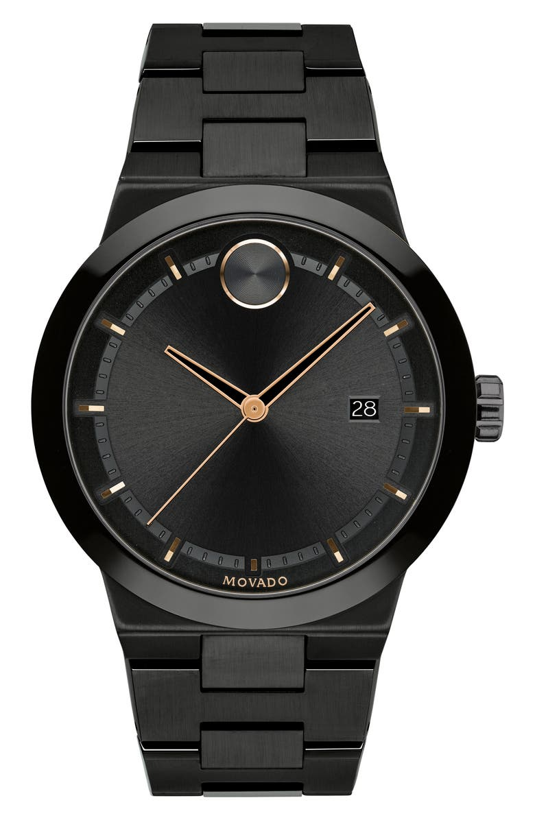 MOVADO Bold Bracelet Watch, 42mm, Main, color, BLACK