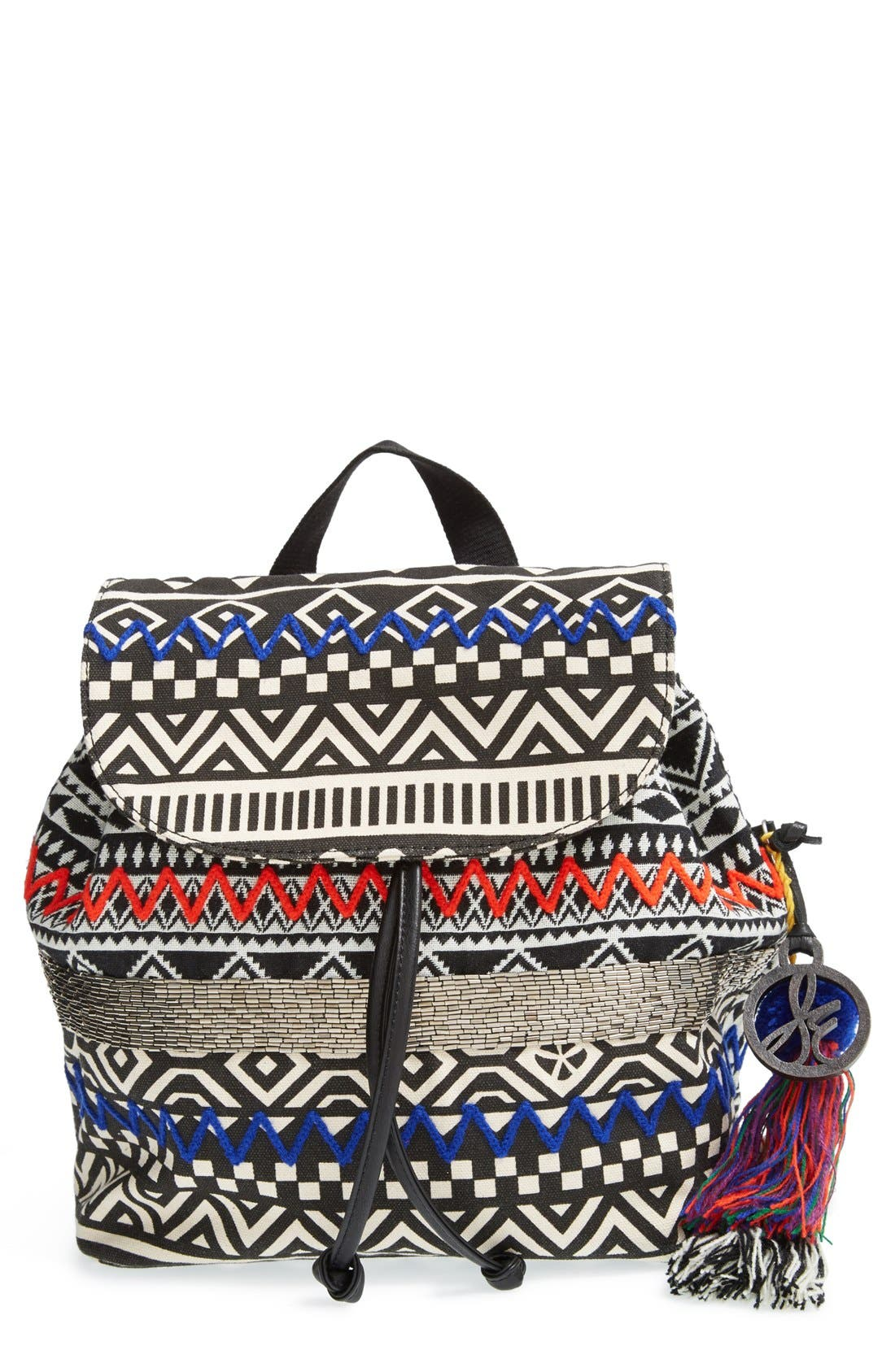 'Bella' Woven Backpack, Main, color, 001