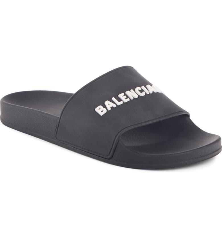 BALENCIAGA Logo Slide Sandal, Main, color, BLACK/ WHITE/ WHITE