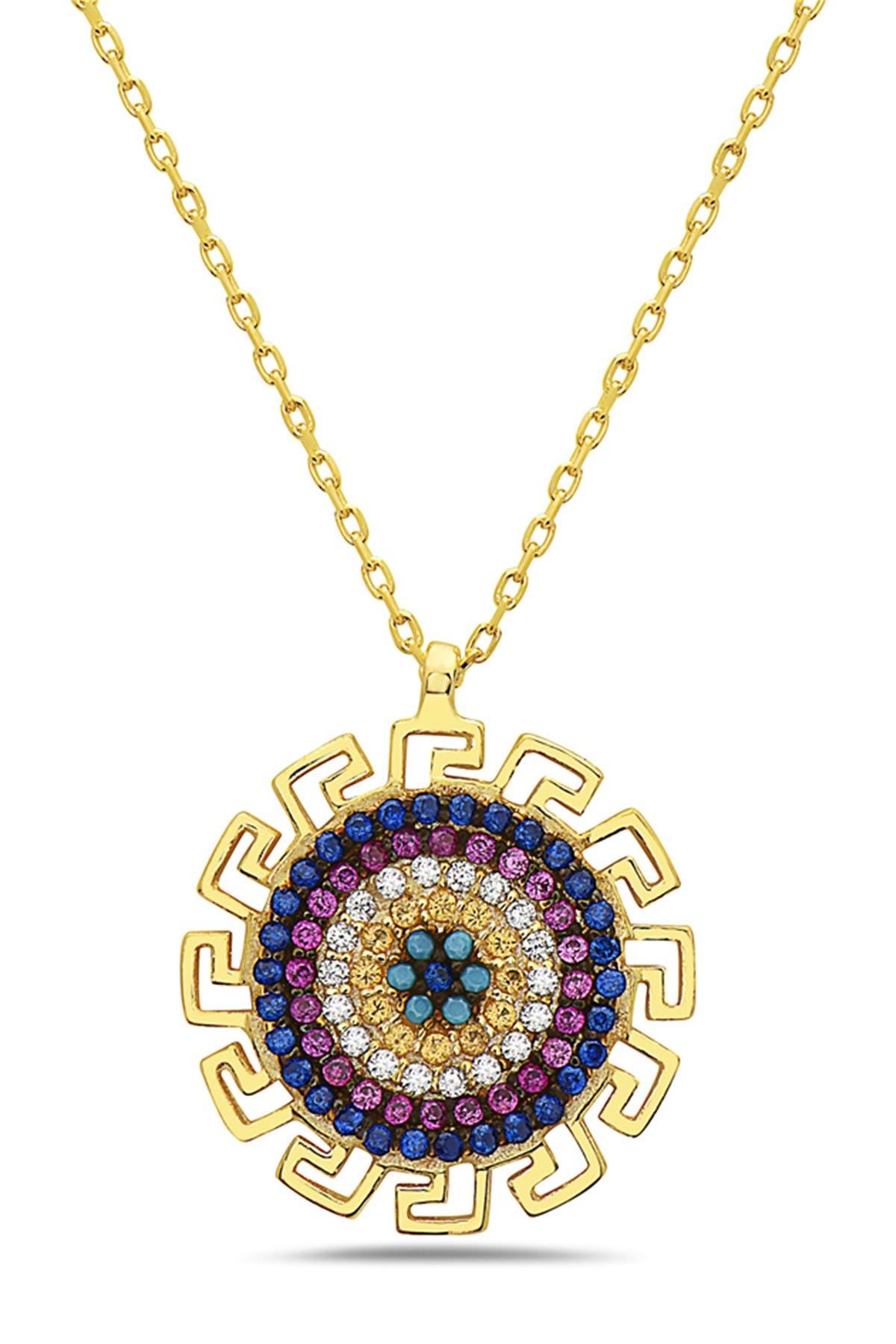 Image of Best Silver Inc. 18K Gold Plated Sterling Silver Crystal Multi Color Greek Design Disk Necklace