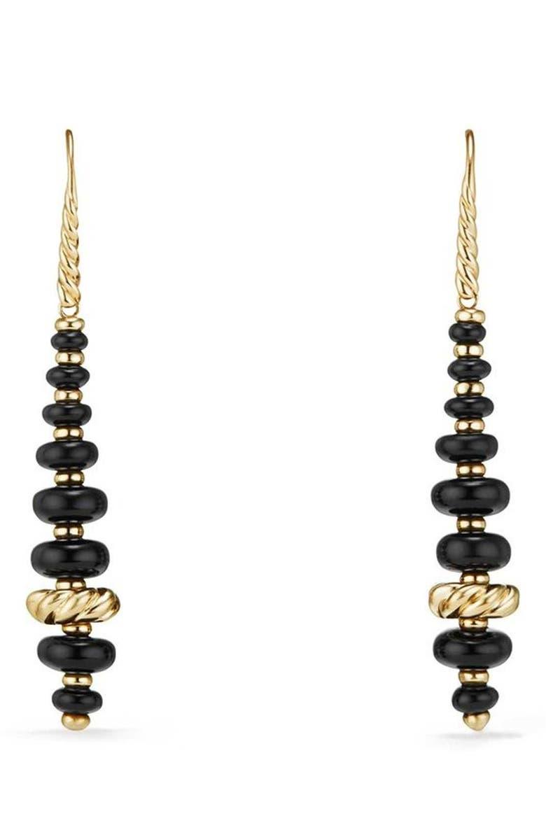 DAVID YURMAN Rio Rondelle Drop Earrings in 18K Gold, Main, color, GOLD/ BLACK ONYX