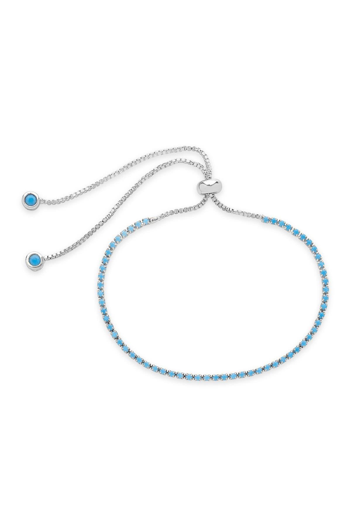 Sterling Forever Turquoise CZ Slider Bracelet