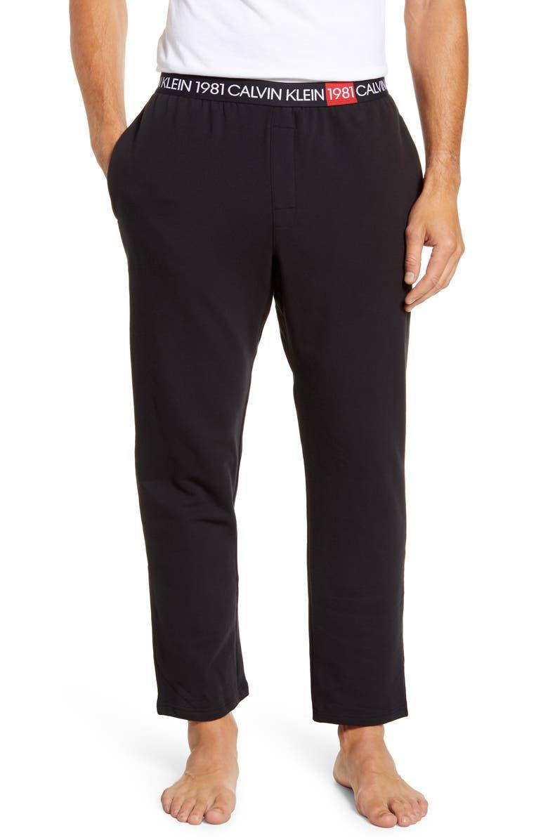 CALVIN KLEIN Cotton Pajama Pants, Main, color, 001