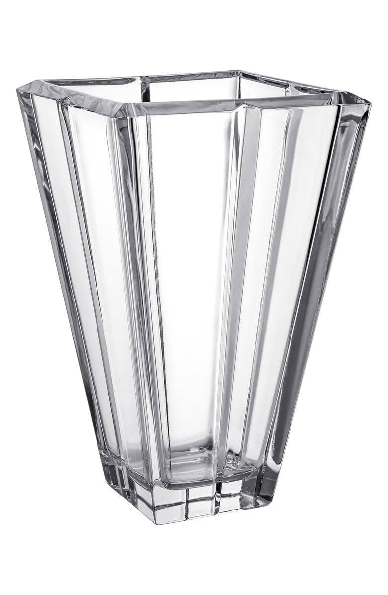 ORREFORS Plaza Leaded Crystal Vase, Main, color, CLEAR