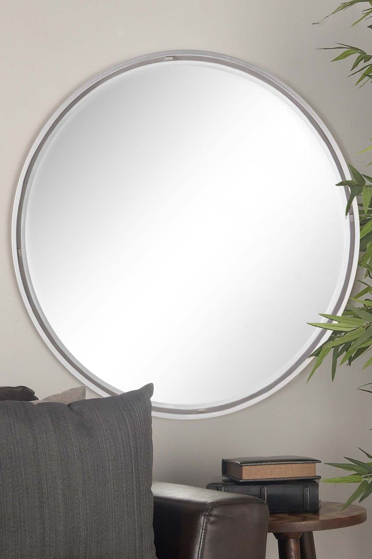 Image of CosmoLiving by Cosmopolitan Mirror/Gray Contemporary Round Wall Mirror
