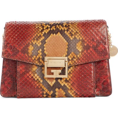Givenchy Small Gv3 Genuine Python Shoulder Bag - Orange