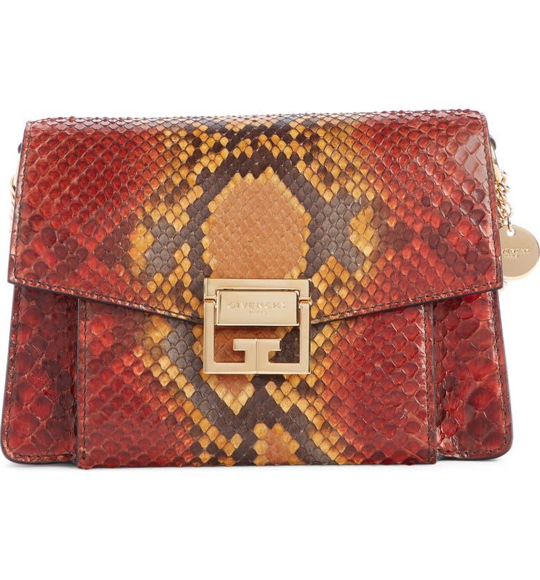 GIVENCHY Small GV3 Genuine Python Shoulder Bag, Main, color, DARK ORANGE