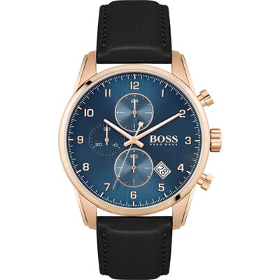 Boss Skymaster Chronograph Leather Strap Watch, 4m