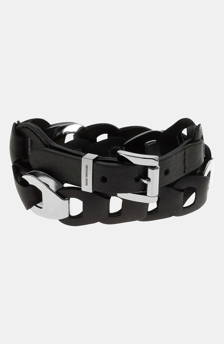 MICHAEL MICHAEL KORS Michael Kors 'Equestrian Luxury' Leather Wrap Bracelet, Main, color, 001